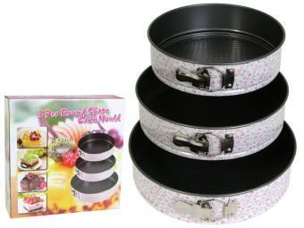 Форма для торта разъемная с покрытием 3 шт 24/26/28 см, с декором