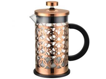 Кофе-пресс 600мл стеклянный, корпус нерж сталь BRONZO