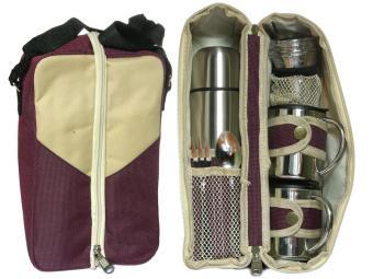 Набор подарочный Термос 0,5л, 4 рюмки, 2 стакана, ложка, вилка, сумка