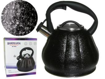 Чайник 3л нерж со свистком фактурное покрытие ''Черный мрамор''