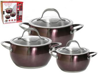 Набор посуды 3пр нерж.сталь, антипригарное цветное покрытие Z-50633