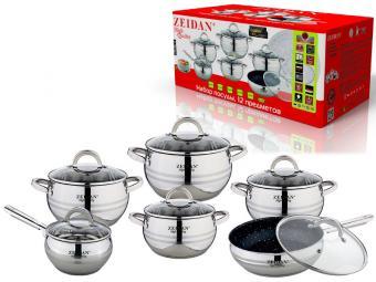 Набор посуды 6пр нерж сталь со сковородой Z-51207