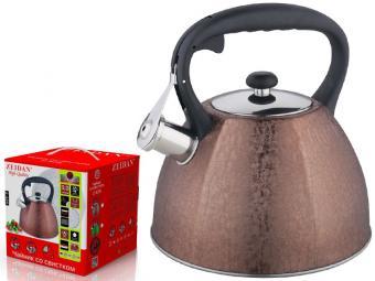Чайник 3л со свистком фактурное покрытие SilkLeather Z-4215