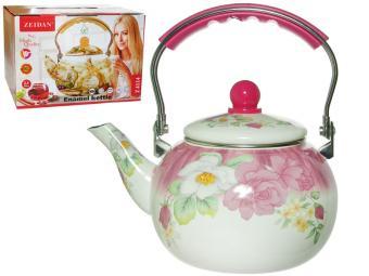 Чайник 2,5л эмаль Розровые цветы индукция Z-4114-01