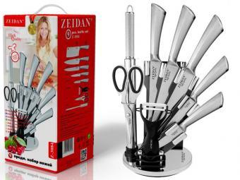 Набор ножей 9пр нержавеющая сталь с декором Z-3084