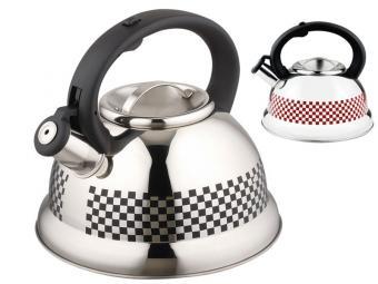 Чайник 3л нерж со свистком с терморисунком Шахматк