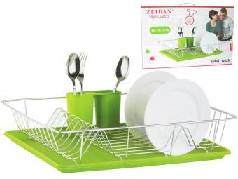 Сушилка для посуды хром Z-1169 зеленая