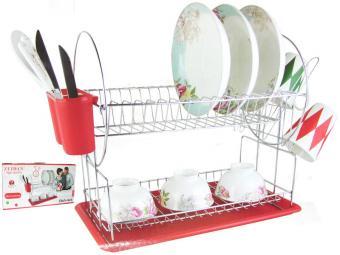 Сушилка для посуды хром Z-1170 красная