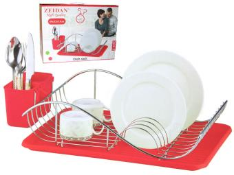 Сушилка для посуды хром Z-1171 красная