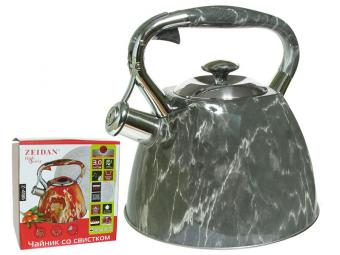 Чайник 3л со свистком нерж Мрамор серый