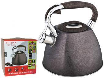 Чайник 3л со свистком нерж, индукция, покрытие SilkLeather