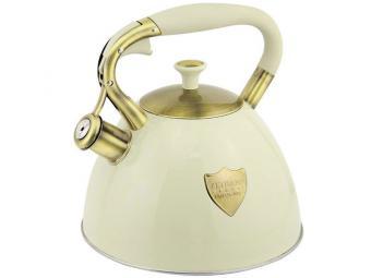 Чайник 3л со свистком нерж индукция Z-4281 молочный