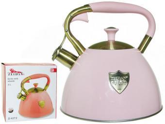 Чайник 3л со свистком нерж индукция Z-4272 розовый