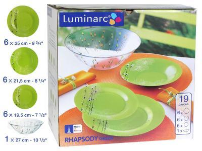 RHAPSODY GREEN Столовый сервиз 19пр Luminarc H8557