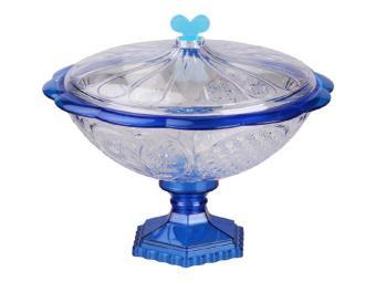 Ваза для конфет Хрусталь синяя с крышкой