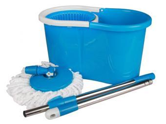Набор для уборки Уют голубой ведро с отжимом и шваброй