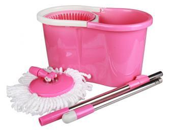 Набор для уборки Уют розовый ведро с отжимом и шваброй