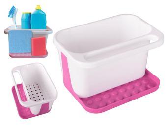 Подставка для моющих средств бело-розовая