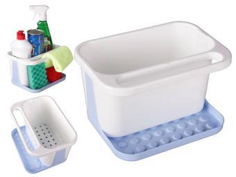 Подставка для моющих средств бело-голубой