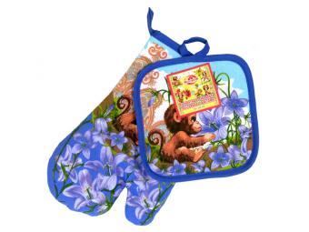 Прихватка и рукавица Обезьянка с цветами