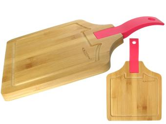Доска разделочная бамбук 350*230*15мм №2 с силиконовой ручкой