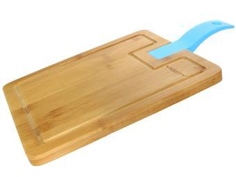 Доска разделочная бамбук 380*230*15мм №3 с силиконовой ручкой
