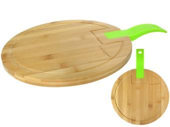 Доска разделочная бамбук 380*280*15мм №1 с силиконовой ручкой