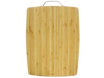 Доска разделочная бамбук 400*300*18мм №3 с метал. ручкой