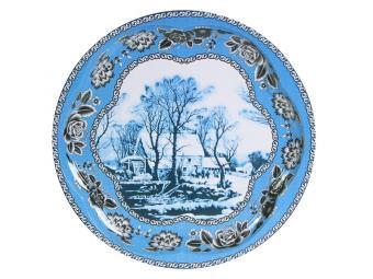 Поднос Круг голубой с пейзажем