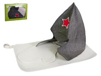 Набор для бани и сауны Буденовка коврик и рукавица