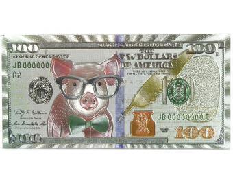 Магнит Банкнота Поросенок в очках 100 Долларов